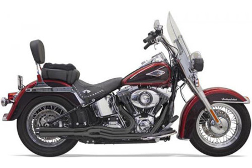 Bassani Exhaust Mega Style System for '86-17 Softails -Black w/ Black Fluted End Caps