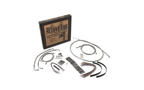 """Burly Brand   Braided Stainless Steel Cable/Line Kits   For 15"""" Burly Ape Hangers   Fits 08-13 FLHX/FLHT/C/U Without ABS"""