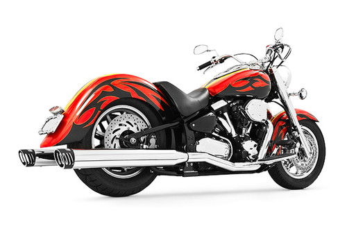 Freedom Performance 4 inch Racing Duals for '99-14 Road Star 1600/1700 -Chrome w/ Black Tips