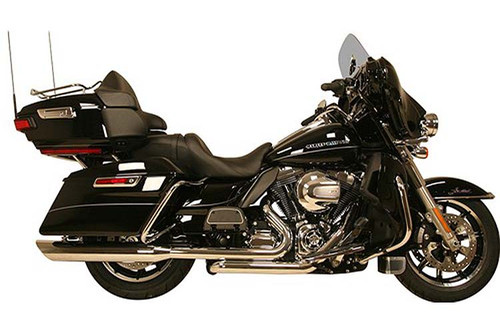 Rush Racing 2:1:2 High Output Headpipes with Built In Crossover for '09-16 HD FL Touring Models - Chrome