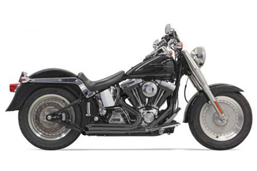 Bassani Pro Street Exhaust System for '86-17 Harley Davidson Softail Models - Black, Turn Out