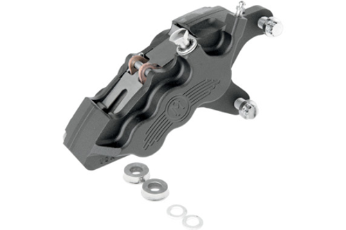 """Performance Machine Six-Piston Front Calipers for Certain H-D Models Starting in '00 for use with 11.5"""" Rotors (112 x 6B calipers) -Black Ops, Right Caliper"""