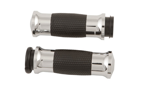 Avon Grips Air Gel Grips for '81-Up H-D Models w/ Cable Throttle(except '08-Up FLHT/FLHR/FLSX/FLTR/TRIKES w/ Air Reservoir in Handlebars) -Chrome