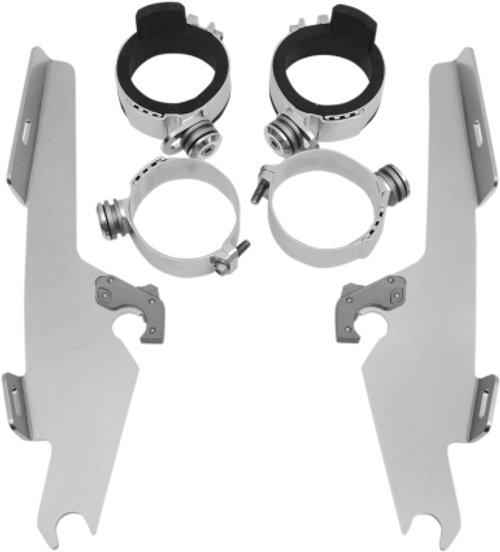 Memphis  Shades  Batwing Windshield Mounting Kit for V-Star 650 Classic & V-Star 1100 Classic Only '98-13-Polished FAIRING AND WINDSHIELD NOT INCLUDED