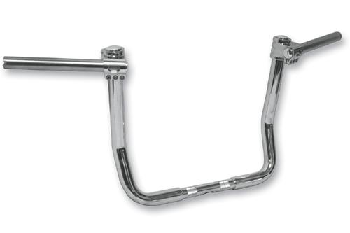 """Klock Werks Klip Hanger 10""""  Handlebars for '96-13 FLHT/FLHX, Trikes & other custom applications w/ """"Batwing"""" Fairing - Chrome"""