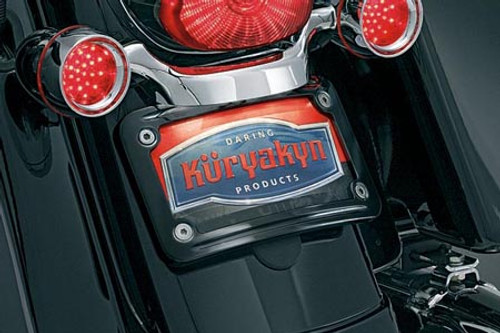 Kuryakyn Black Curved License Plate Frame for '10-Up FLHX/FLTRX