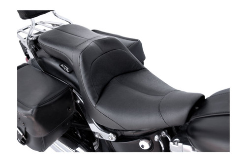 Danny Gray LowIST 2-UP Seat for '06-10 FXST / '07-17 FLSTF/B Black Leather