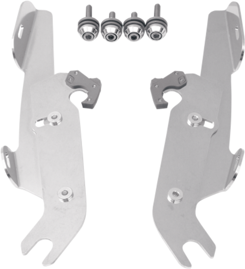 Memphis  Shades  Batwing Windshield Mounting Kit for FLSTC '86-UP, FLSTF '90-UP & FLSTN '93-96, '05-17 w/ LIGHTBARFAIRING AND WINDSHIELD NOT INCLUDED -Polished