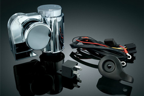 Kuryakyn Deluxe Wolo Bad Boy Air Horn for '92-Up H-D Models w/ Stock Cowbell Horn -Kit