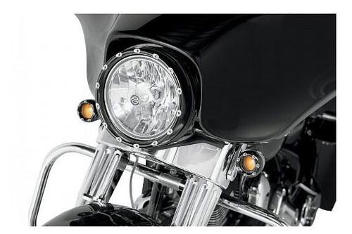 "Arlen Ness Fire Ring L.E.D.  With White L.E.D. Running Lights   for 7"" Factory Headlights - Black Ring"