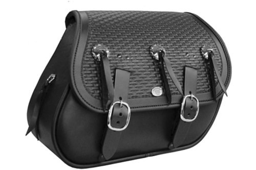 Boss Bags Close Fitting  #37DC Model Braided Lid, w/ Conchos for Softail Models