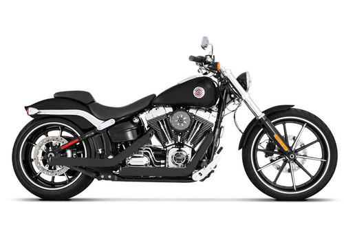 Rinehart Racing Kick Back Exhaust System  for '07-17 Later Softail Models Black with Chrome End Caps SHOWN WITH BLACK END CAPS