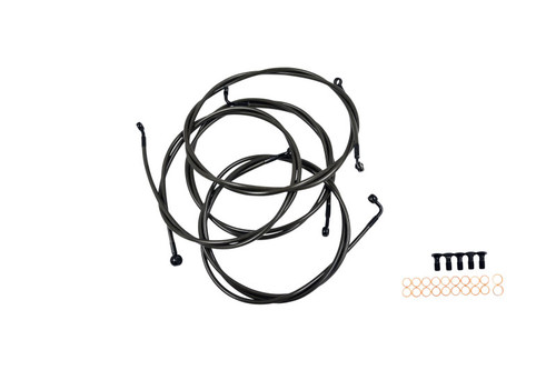 LA Choppers Standard Midnight Handlebar Cable/ Brake Line Kits for '13-15 CVO, '14-15 FLHTCU, FLHTK, FLHX Models With ABS for Use w/ 15-inch to 15-inch Ape Hangers