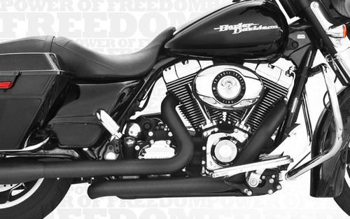 Freedom Performance Right Side Tuck & Under Headers for '95-08 FLHT/FLT -BlackDOES NOT INCLUDE MUFFLERS