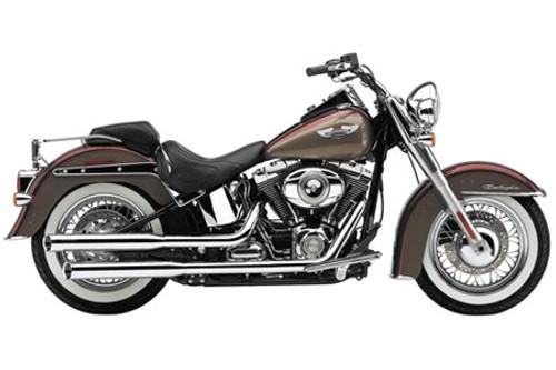 Cobra 3 Inch  Slip On Mufflers w/ Billet Tips for '05-17 Harley Davidson Deluxe, Cross Bones and Slim -Black (Shown in Chrome)