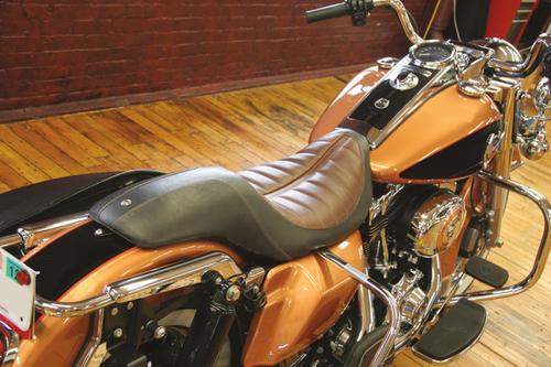 Roland Sands Enzo Seats Touring 2-Up Seat for Harley Davidson Touring Models 2008-Up -Brown raised detailing
