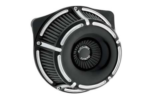 Arlen Ness Inverted Series Air Cleaner Kits for '99-06 Twin Cam CV Carb, '01-17 Twin Cam Delphi EFI Models (Excludes 08-17 FLH, FLT; 16-17 FLSTFS, FLSS ) -Slot track, Black Anodized