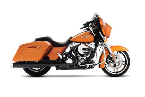 Rinehart Racing  4 inch Slip On Mufflers for '17-Up Harley Davidson Touring Models  Black w/ Chrome End Caps