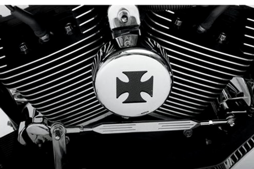 Drag Specialties Horn Cover for most '91-Up Big Twin & XL Models -Chrome w/ Black Cross Insert