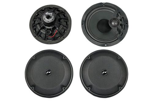 """J&M ROKKER  XXR 6.71"""" Rear-Pod/Lower-Fairing Speaker Kit  w/H-Output Grill Mounted Tweeters '14-16 Harley Ultra/Ltd 1"""