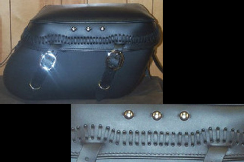 Leather Pro 3200 Series Leather Saddlebags for Harley Softails w/ Stock Exhaust  (NOT for Deuce) -Laced Lid & 3 Studs