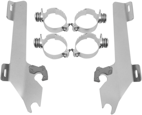 Memphis  Shades  Batwing Windshield Mounting Kit for VTX1800 w/ exposed forks   '02-08-Polished FAIRING AND WINDSHIELD NOT INCLUDED