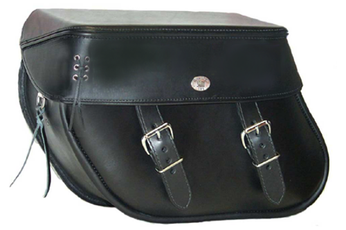 Boss Bags #36 Model Plain Style with Laced Leather on Lid Corner for Harley Models