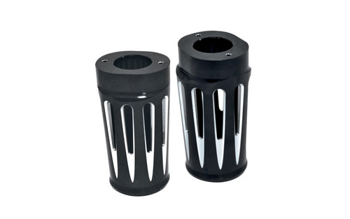 Arlen Ness Fork Boot Covers for '86-13 FLHT & '06-13 FLHX & Trike -Deep Cut, Black Anodized