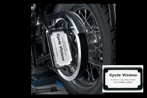 Cycle Visions In Close License Plate Holder for '08-11 FXST/FLST -Black Powder-Coat, Vertical with Plate Light