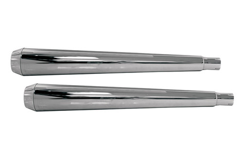 "Bassani Slip On Mufflers  for Hutch Special True Dual Headpipes  4"" Megaphone w/ Billet End Caps for '95-16 FXST/FLST  (Except Models w/ ABS) Chrome"