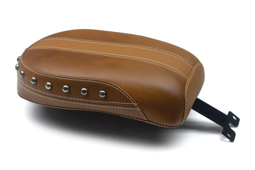 Mustang Seats  Brown Vinyl Passenger Seat with Leather Inserts and Nickel Studs for Indian Scout