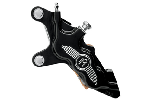"""Performance Machine Six-Piston Front Calipers for Certain H-D Models Starting in '00 for use with 11.5"""" Rotors (112 x 6B calipers) -Contrast Cut, Left Caliper"""