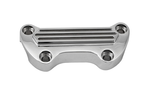 Hard Drive Handlebar Clamps  for '73-Up HD (except Springer Softail)  - Chrome, Finned Clamp w/out Skirt
