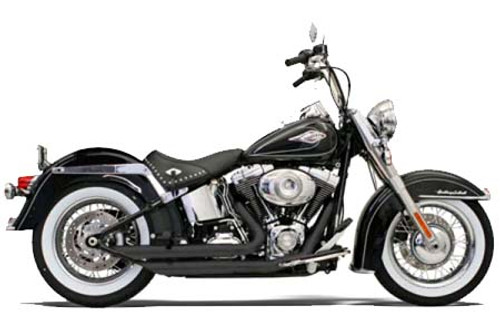 Bassani Exhaust Fireflight Exhaust w/ Slash Cut Ends for '86-17 Harley Davidson Softail Black