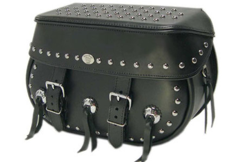 Boss Bags #34 Model Studded on Lid Valence, Body and Top w/ Conchos on Body for Harley Models