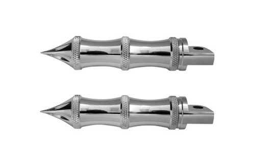 "Accutronix Chrome Tribal Male-Mount Footpegs -5"" L (pair)"