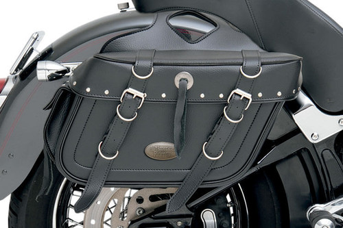 All American Rider Box-Style Slant Saddlebags w/ Rear Pocket -Rivet X-Large
