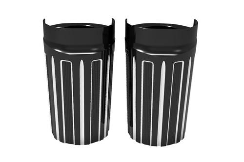 Arlen Ness Ness Fork Boot Covers for '14-UP FLHT, FLHR FLHX, FLTR 10 Gauge - Black
