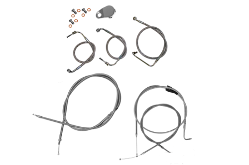 """L.A. Choppers Cable Kit for '11-14 FXST/ FLST w/ ABS for use with 18""""-20"""" Ape hangers -Stainless"""