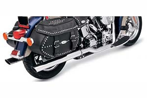Bassani Power Curve Slip-On Mufflers -3 inch Slash-Cut Use w/ Bassani True Dual Crossover Head Pipes and Hutch Special True Dual Head Pipes for '89-17 Harley Davidson Softail - Chrome