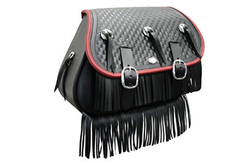 Boss Bags Close Fitting  #37 Model Braided Lid, Fringed w/ Conchos (Red Trim Shown) for '14 Indian Models 1