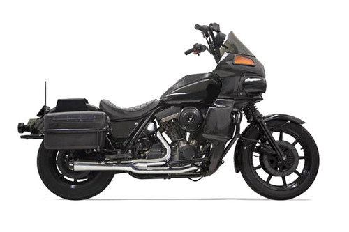 Bassani Exhaust Road Rage 2-Into-1 System for '84-94, '99-00 FXR with Floorboards -Chrome, Short Megaphone