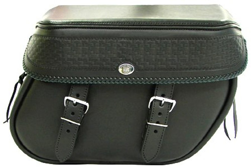 Boss Bags Close Fitting #40 Model  Basket Weave Style w/ a Braided Lid Valence for Softail Models