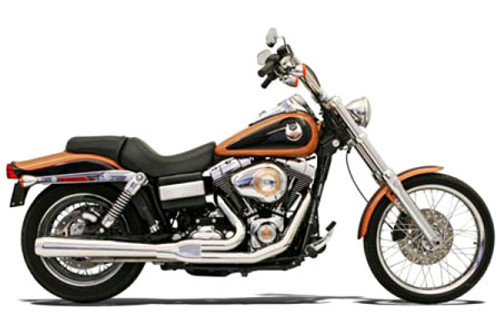 Bassani Road Rage 2-Into-1 System for FXD, FXDWG  '06-Up W/ Forward or Mid Controls Chrome, Long w/ Heat Shields
