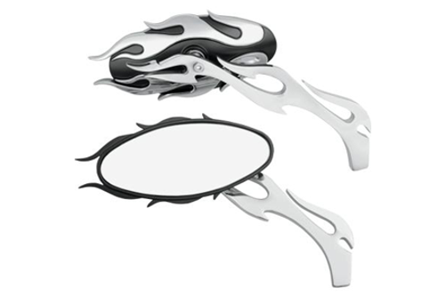 Drag Specialties Flame Oval Mirrors -Chrome/Black Finish