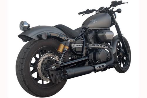 black motorcycle with dual density Slip-On Muffler