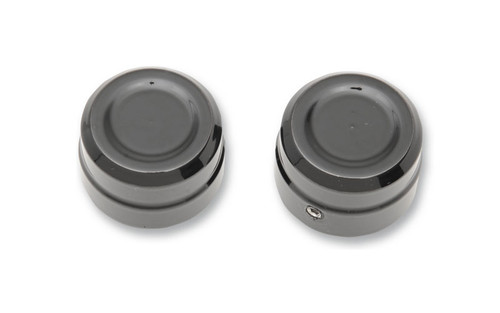 "Drag Specialties  Billet Front Axle Caps for '08-15 XL and  '09-12 XR1200 models w/ 1.130"" axle head & 15/16"" axle nut  -Black"