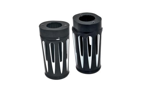 Arlen Ness Fork Boot Covers for '14 FLHT/FLT/FLHX -Deep Cut, Black Anodized
