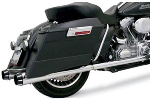 "Bassani 4"" Megaphone Slip-On Mufflers for '95-16 FLT/FLHT/FLHX/FLTR/FLHR Chrome w/ Black End Caps & Flutes -2¼"" Standard Baffle"
