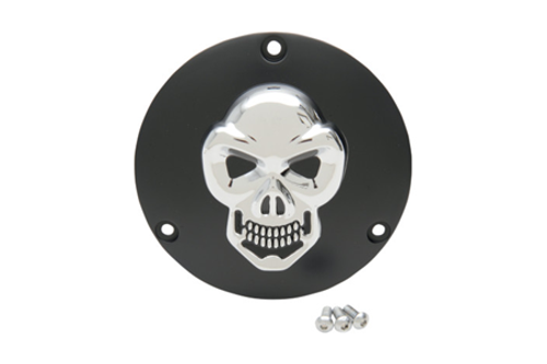Drag Specialties 3-D Skull Derby Cover  for '99-Up Big Twin (Except '16 Dressers, '15 FLHCUL/FLHTKL) -Black w/ Chrome Skull